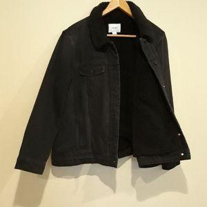 Old navy Sherpa lined Black denim Jacket